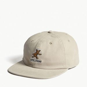 Like-new STUSSY EMBROIDERED BEAR BASEBALL CAP